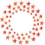 Red watercolor stars circle Royalty Free Stock Photo