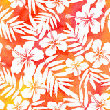 Red watercolor vector hibiscus seamless pattern Stock Photo