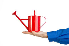 Red Watering Can Stock Photography
