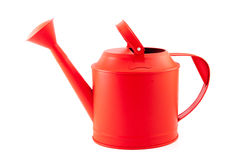 Red watering can on a white background Royalty Free Stock Image
