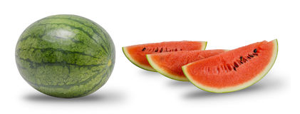 Free Red Watermelon And Sliced Ripe Isolated On White Background. Stock Photography - 98835712