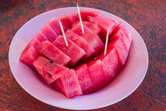 Red watermelon. Close-up of fresh slices of red watermelon Royalty Free Stock Photography