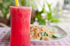 REd watermelon juice and tofu vegetable fried rice Stock Photo