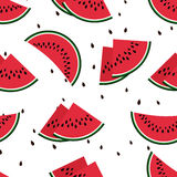 Red watermelon slices seamless vector pattern Stock Images