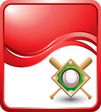 Red wave background with baseball bats and diamond