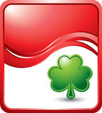 Red wave background with a shamrock Stock Photo