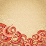 Red waves on cardboard vintage Royalty Free Stock Image