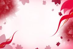 Red waves right side and flowers, abstract background Stock Images