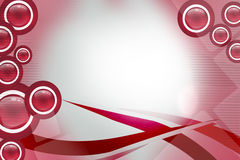 Red waves on top and rings on both sides, abstract background Stock Images