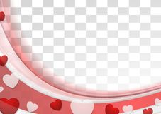 Red wavy abstract background with hearts Royalty Free Stock Photo