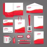 Red wavy abstract business stationery template. For corporate identity and branding set vector illustration vector illustration