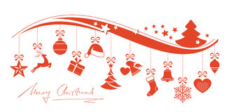 Red wavy border with hanging Christmas ornaments Stock Image