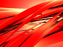 Red wavy curves. Abstract design background. 3d render illustration Stock Photos