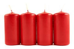 Red wax candle composition isolated Royalty Free Stock Images