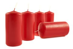 Red wax candle composition isolated Stock Images
