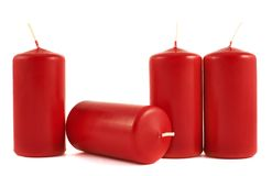 Red wax candle composition isolated Royalty Free Stock Image