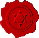 Red wax with david star Stock Image