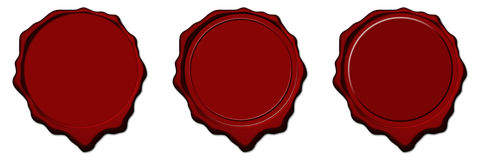 Red wax empty seals Stock Photo