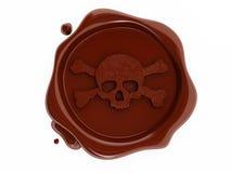 Red wax pirates skulls symbol. Wax pirates skulls symbol stamp Royalty Free Stock Photos