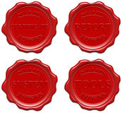 Red wax: quality, certificate, report,system,tools Royalty Free Stock Photos