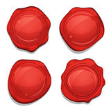 Red Wax Quality Seals Set Stock Photo