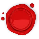 Red wax seal with blank field, 3d Stock Photography