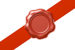 Red wax seal on diagonal red ribbon  on white. Red sealing wax seal stamp without sign on diagonal red ribbon  on white background, 3d illustration Royalty Free Stock Photography