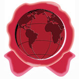 Red wax seal with globe vector illustration