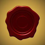 Red wax seal on gold gradient background. Vector illustration Royalty Free Stock Images
