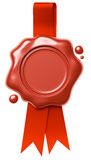 Red wax seal hang on red ribbon  on white Royalty Free Stock Images