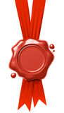Red wax seal hang on red ribbons  on white Royalty Free Stock Images