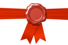 Red wax seal on horizontal red ribbon  on white Stock Photos