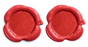 Red wax seal isolated set Stock Photos