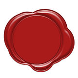 Red wax seal. Isolated on white stock illustration