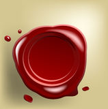 Red wax seal on old paper Stock Photography
