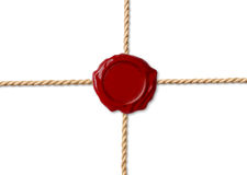 Red wax seal over crossed ropes Stock Photos