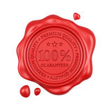 Red wax seal 100 percent premium quality stamp isolated. 3d render of red wax seal 100 percent premium quality stamp isolated on white background Royalty Free Stock Images