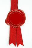 Red wax seal red ribbon Stock Photo