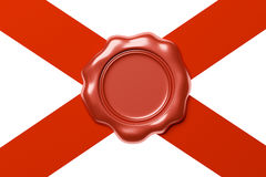 Red wax seal on red ribbon diagonal cross  on white Stock Images