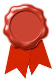 Red wax seal on red ribbon isolated on white. Red sealing wax seal stamp without sign on red ribbon isolated on white background, 3d illustration Royalty Free Stock Image