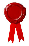 Certificate Red wax seal or signet with ribbon isolated. Red wax seal with ribbon isolated on white Stock Image