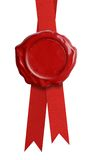 Red wax seal with ribbon isolated Royalty Free Stock Images