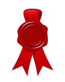 Red wax seal with ribbon isolated on white. Vector eps-10. Royalty Free Stock Photos
