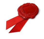 Red wax seal with ribbons Stock Image