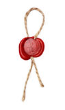 Red wax seal with rope Royalty Free Stock Images
