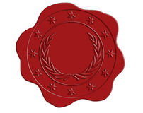 Red Wax Seal with Star and Laurel Border Stock Photo