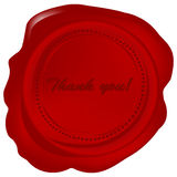 Red wax seal with Thank you Stock Image