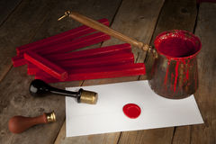 Red wax staff with stamp. Pot and letter Stock Images