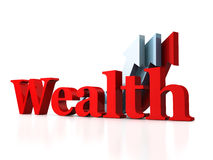 Red WEALTH text with growing arrows royalty free illustration