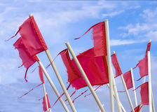 Red, weathered fishermen's flags Royalty Free Stock Photography